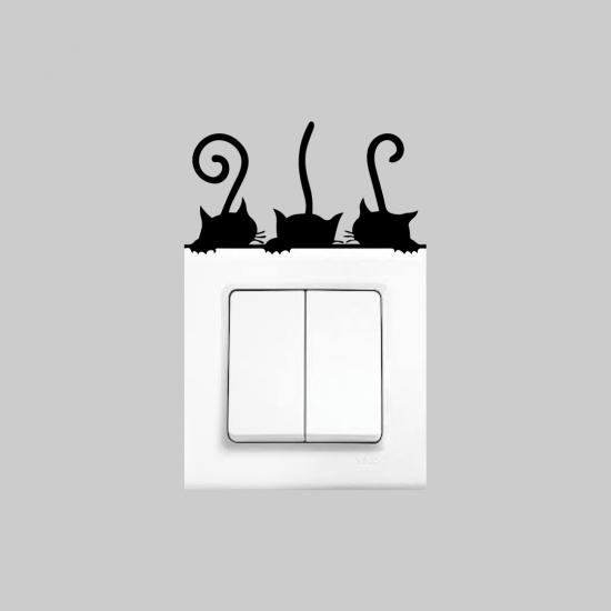 Priz Dekoru 3´lü Kedi