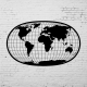 Duvar Dekoru Oval Dunya Haritası