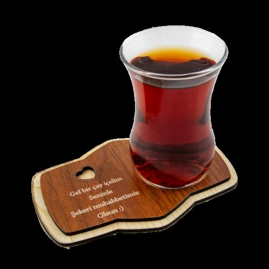 Ahşap Sözlü Çay Altlığı
