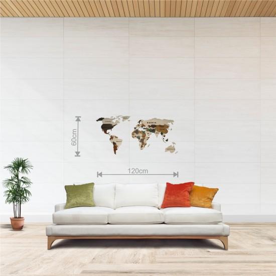 Dekoratif 2Katman Ahşap Dünya Haritası 3d (Normal Boy)