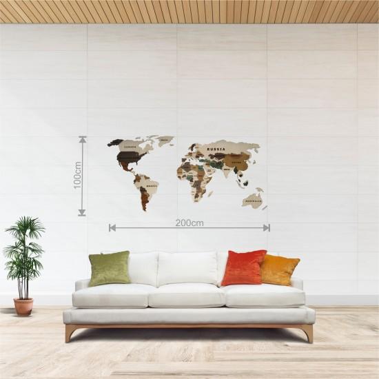 Dekoratif 2Katman Ahşap Dünya Haritası 3d (Orta Boy)