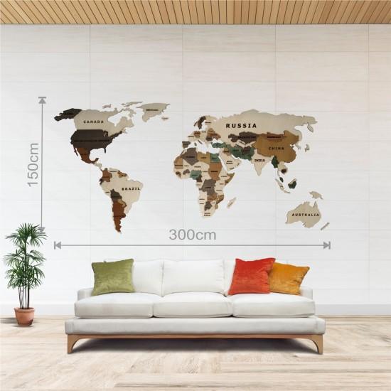 Dekoratif 2Katman Ahşap Dünya Haritası 3d (Büyük Boy)