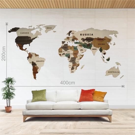 Dekoratif 2Katman Ahşap Dünya Haritası 3d (Dev Boy)
