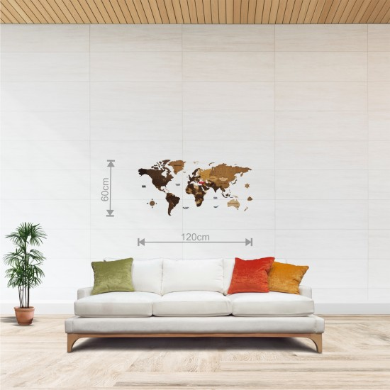 Dekoratif 4Katman Ahşap Dünya Haritası 3d (Normal Boy)