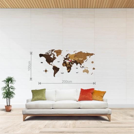 Dekoratif 4Katman Ahşap Dünya Haritası 3d (Orta Boy)