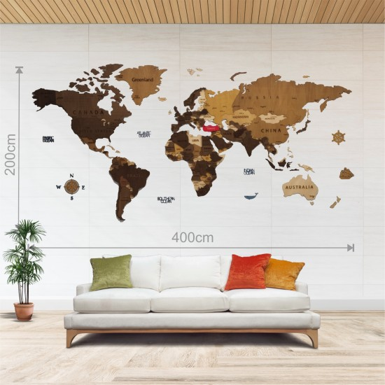 Dekoratif 4Katman Ahşap Dünya Haritası 3d (Dev Boy)
