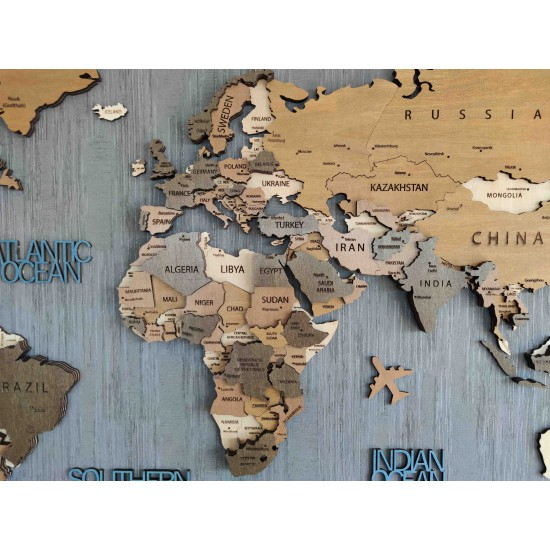 Dekoratif 4Katman Ahşap Dünya Haritası 3d (Büyük Boy)