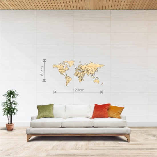 Dekoratif Tek Katman Ahşap Dünya Haritası 3d (Normal Boy)