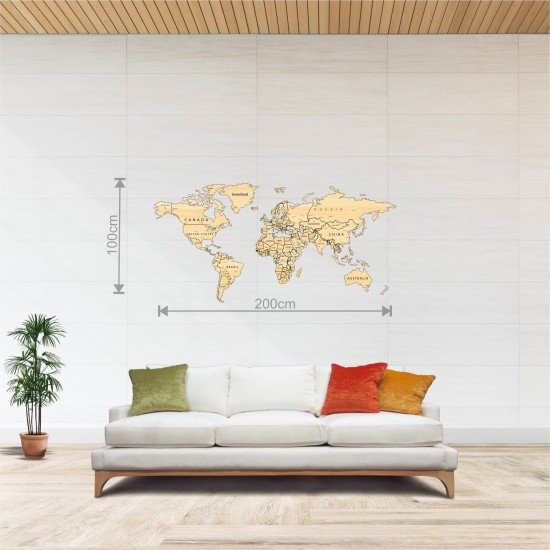 Dekoratif Tek Katman Ahşap Dünya Haritası 3d (Orta Boy)