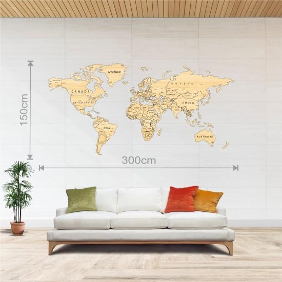 Dekoratif Tek Katman Ahşap Dünya Haritası 3d (Büyük Boy)
