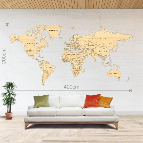 Dekoratif Tek Katman Ahşap Dünya Haritası 3d (Dev Boy)