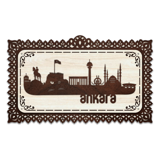 Dekoratif Ahsap Tablo - Ankara Sehir (Orta Boy)