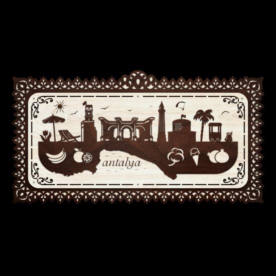 Dekoratif Ahsap Tablo - Antalya Sehir (Büyük Boy)