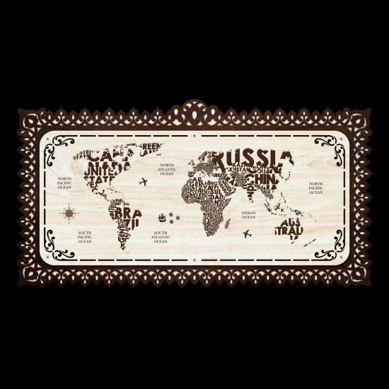 Dekoratif Ahsap Tablo - Dünya Haritası (Büyük Boy)