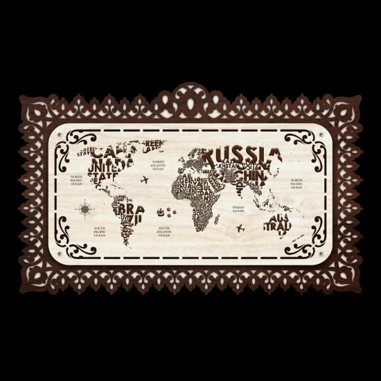 Dekoratif Ahsap Tablo - Dünya Haritası (Normal Boy)