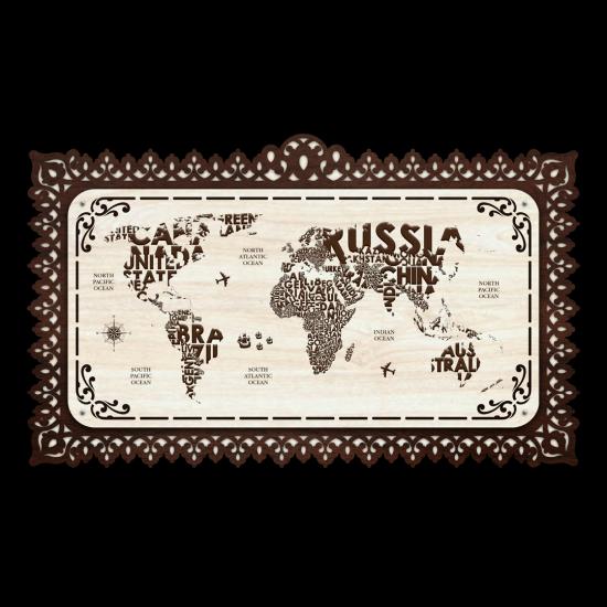 Dekoratif Ahsap Tablo - Dünya Haritası (Orta Boy)