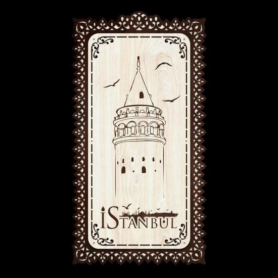Dekoratif Ahsap Tablo - Galata Kulesi (Büyük Boy)
