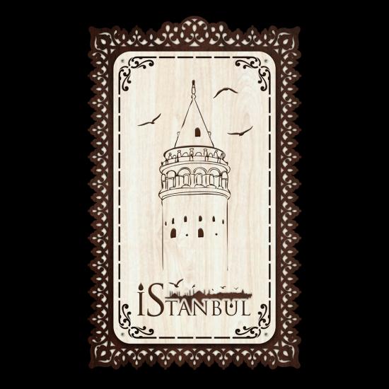 Dekoratif Ahsap Tablo - Galata Kulesi (Orta Boy)