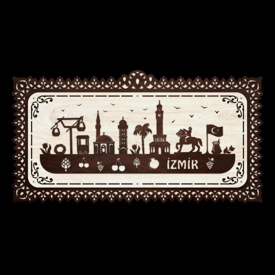 Dekoratif Ahsap Tablo - İzmir Sehir (Büyük Boy)