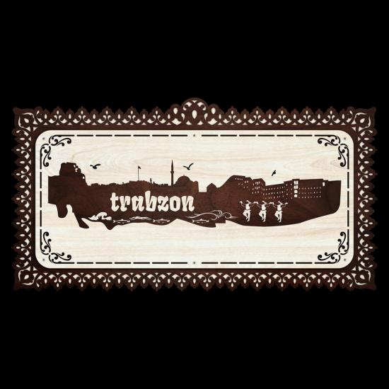 Dekoratif Ahsap Tablo - Trabzon Sehir (Normal Boy)